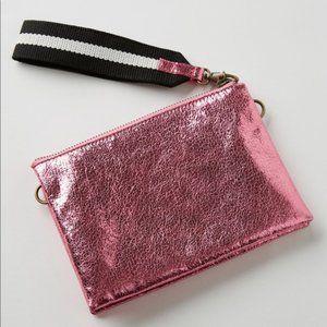 Anthropologie Jackson Pink Metallic Leather Clutch